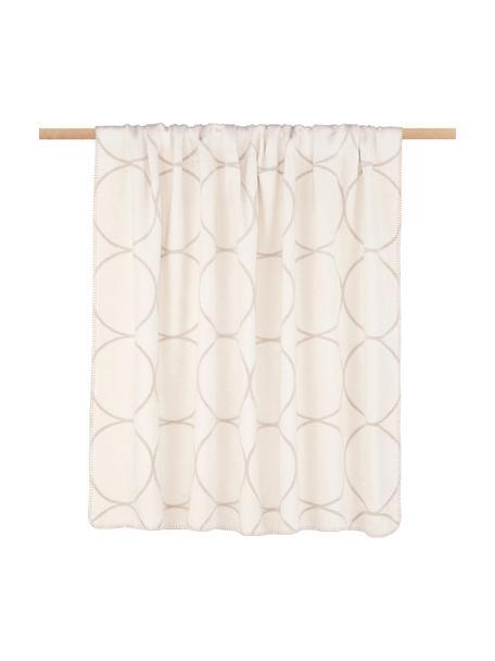 Plaid reversibile in velour Bamboo Circles, Tessuto: Jacquard, Toni beige, Larg. 150 x Lung. 200 cm