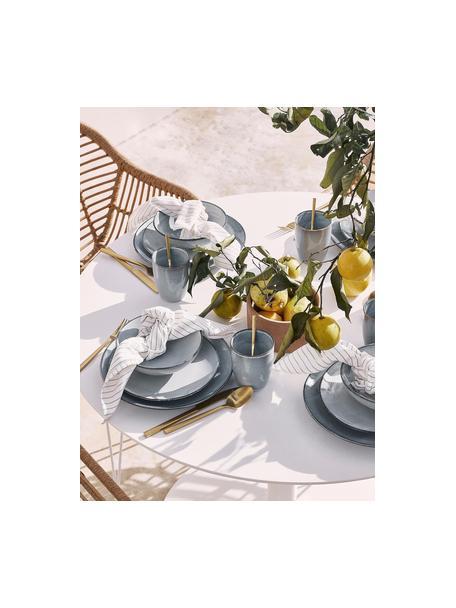 Ręcznie wykonany talerz śniadaniowy z kamionki Thalia, 2 szt., Kamionka, Niebieskoszary, Ø 22 cm