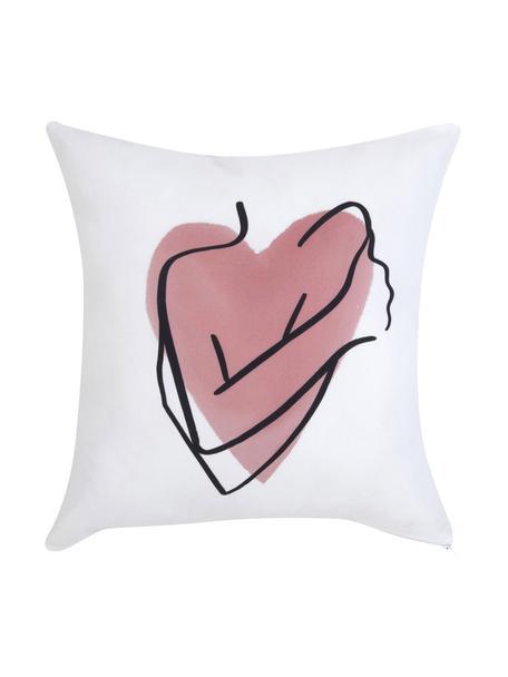 Funda de cojín Selfcare diseño Kera Till, 100%algodón, Blanco, rosa, negro, An 40 x L 40 cm