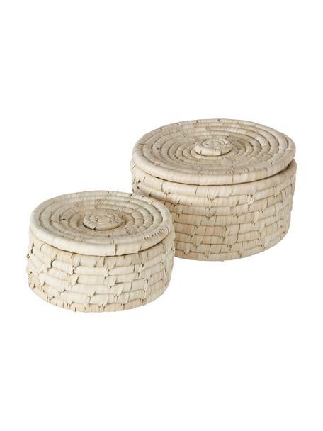 Komplet pojemników do przechowywania Samilana, 2 szt., Liście palmy daktylowej, Beżowy, Komplet z różnymi rozmiarami