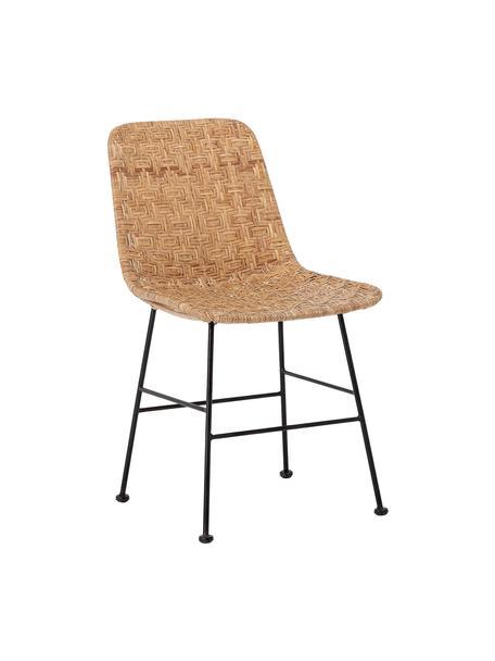 Rotan stoel Kitty in zwart/beige, Zitvlak: rotan, Poten: gecoat metaal, Zwart, beige, 55 x 44 cm