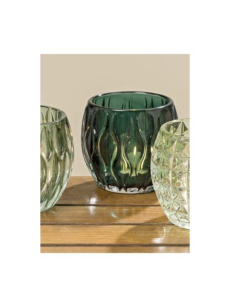 Waxinelichthoudersset Aliza, 3-delig, Glas, Groentinten, transparant, Ø 10 x H 9 cm