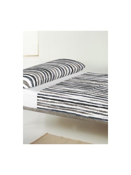 Sábana encimera Capri, Algodón El algodón da una sensación agradable y suave en la piel, absorbe bien la humedad y es adecuado para personas alérgicas, Blanco, gris, Cama 150/160 cm (240 x 270 cm)