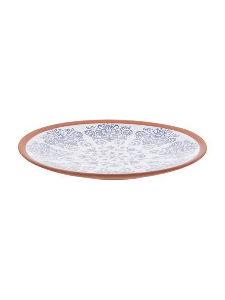 Piatto da portata fatto a mano Tapas, Ø 37 cm, Terracotta, Blu, bianco, marrone, Ø 37 x Alt. 6 cm