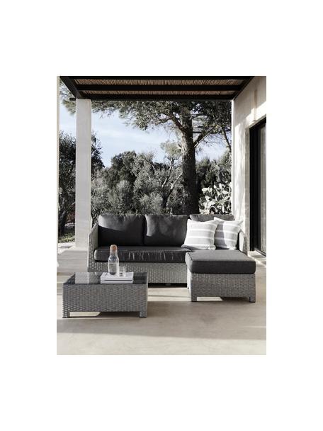 Set lounge de exterior Conmay, 3pzas., Estructura: aluminio, ratán sintético, Tapizado: olefina, Tablero: vidrio, Gris, gris oscuro, transparente, Set de diferentes tamaños