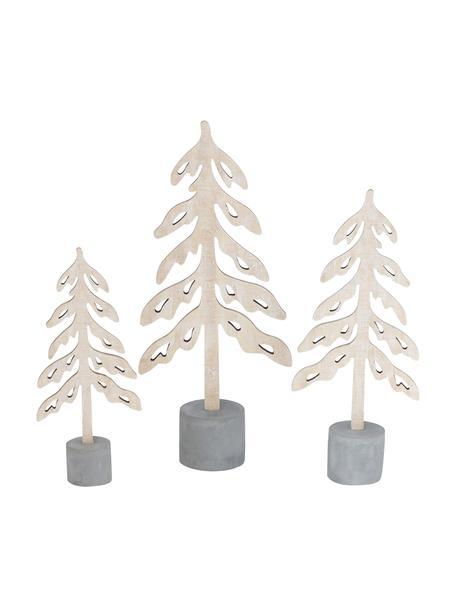 Deko-Bäume-Set Mattern, 3 Stück, Beton, Sperrholz, Beton, Hellbraun, Sondergrößen