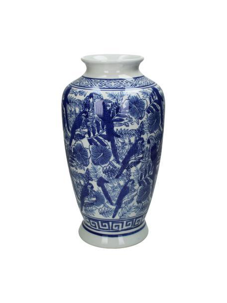 Grote vaas Tourmaline van porselein, Porselein, Blauw, wit, Ø 16 x H 31 cm