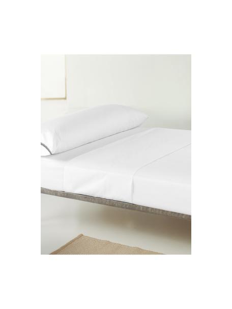 Sábana encimera de satén con bordado Maresa, Blanco, Cama 90 cm (160 x 270 cm)