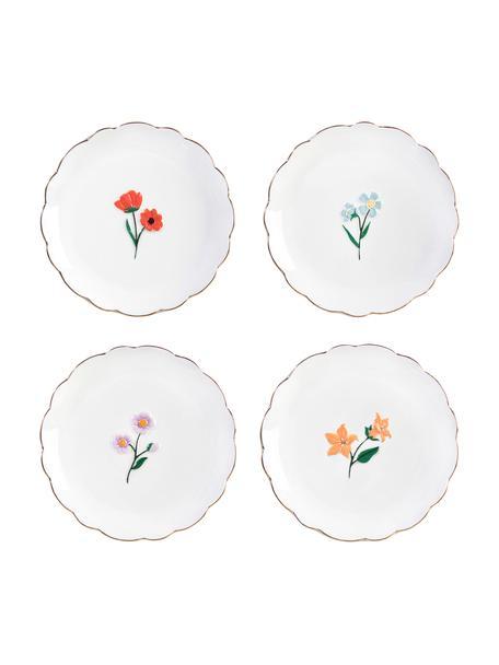 Frühstücksteller Wildflower mit Blumen-Dekor und Goldrand, 4er-Set, Dolomitstein, Mehrfarbig, Ø 17 cm