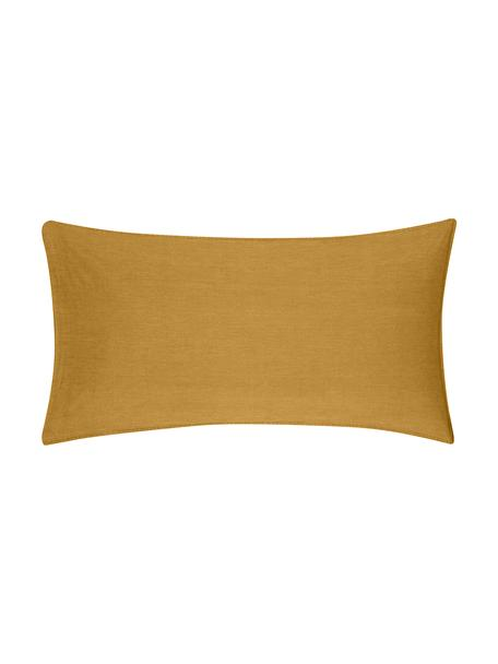 Poszewka na poduszkę z bawełny z efektem sprania Arlene, 2 szt., Żółty, S 40 x D 80 cm
