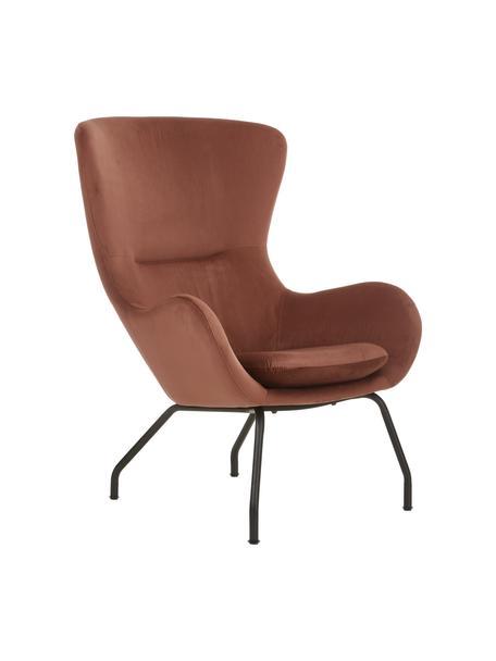 Fluwelen fauteuil Wing in bruin met metalen poten, Bekleding: fluweel (polyester), Frame: gegalvaniseerd metaal, Fluweel bruin, 75 x 85 cm