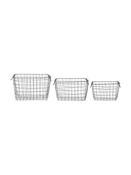Drahtkörbe-Set Loft, 3-tlg., Metall, verzinkt, Grau, Set mit verschiedenen Größen