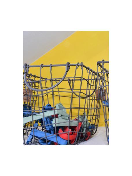 Set 3 cestelli in filo Loft, Metallo zincato, Grigio, Set in varie misure