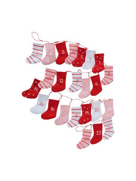 Adventskalender Socke, Vilt, Rood, roze, wit, L 200 cm