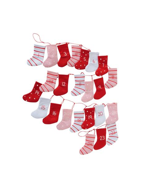 Adventskalender Socks L 200 cm, Filz, Rot, Rosa, Weiß, L 200 cm