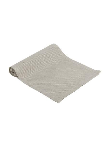 Camino de mesa en tejido gofre Kubo, 65%algodón, 35%poliéster, Gris pardo, An 40 x L 145 cm