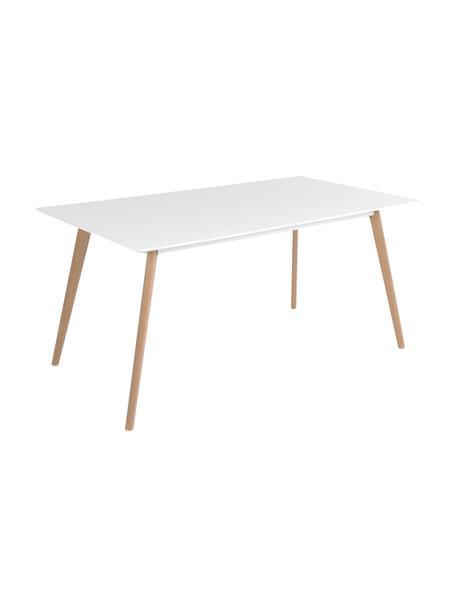 Tavolo con piano bianco Flamy, 160x90 cm, Piano d'appoggio: Pannelli di fibra a media, Gambe: legno di quercia, oliato, Bianco, legno di quercia, Larg. 160 x Prof. 90 cm