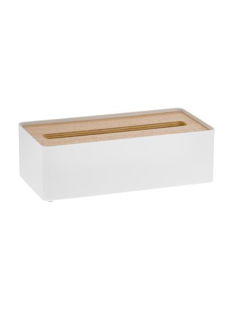 Tissuebox Rin met afneembaar bamboe deksel, Deksel: hout, Doos: gelakt staal, Wit, bruin, 26 x 8 cm