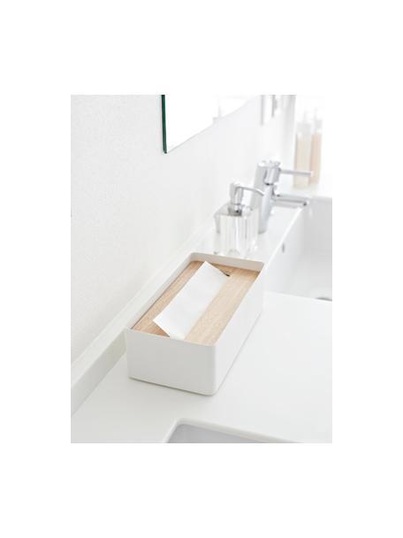 Kosmetiktuchbox Rin mit abnehmbaren Bambus-Deckel, Deckel: Holz, Box: Stahl, lackiert, Weiß, Braun, 26 x 8 cm