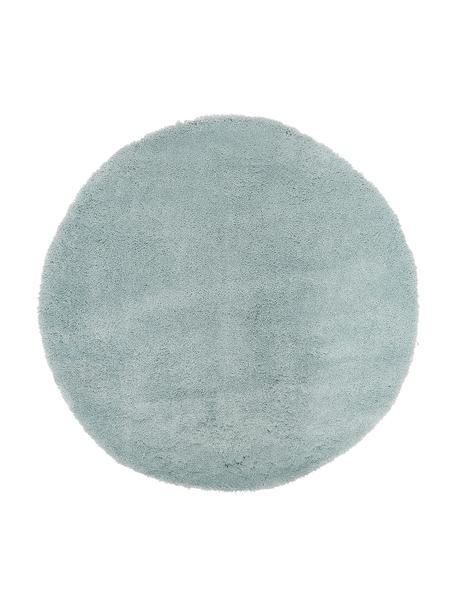 Rond hoogpolig vloerkleed Leighton in mintgroen, Bovenzijde: 100% polyester (microveze, Onderzijde: 100% polyester, Mintgroen, Ø 120 cm (maat S)
