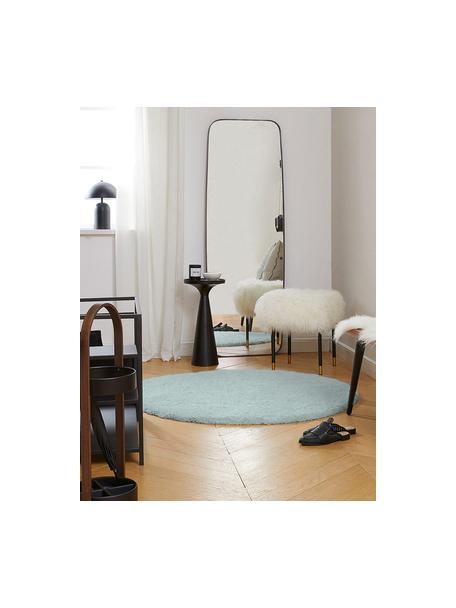 Rond hoogpolig vloerkleed Leighton in mintgroen, Bovenzijde: microvezels (100% polyest, Onderzijde: 100% polyester, Mintgroen, Ø 120 cm (maat S)