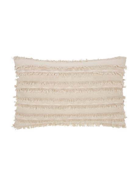 Kussenhoes Jessie in beige met decoratieve franjes, 88% katoen, 7% viscose, 5% linnen, Beige, 30 x 50 cm