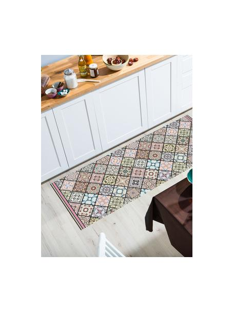 Vlakke vinyl vloermat Aylin met kleurrijke print, antislip, Recyclebaar vinyl, Multicolour, 68 x 180 cm