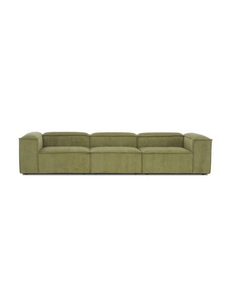 Sofá modular de pana Lennon (4plazas), Tapizado: pana (92%poliéster, 8%p, Estructura: madera de pino maciza, ma, Patas: plástico Las patas están , Pana verde, An 327 x F 119 cm