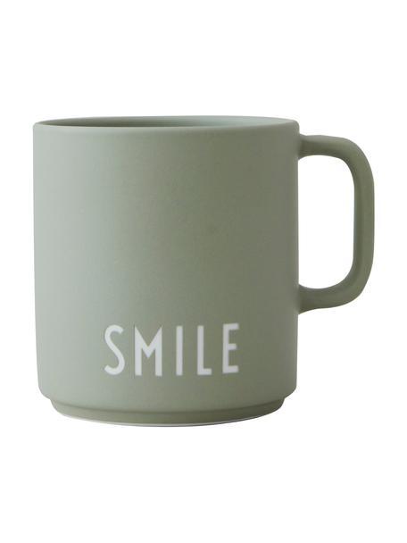 Design Kaffeetasse Favourite SMILE in gedecktem Grün mit Schriftzug, Fine Bone China (Porzellan), Graugrün, Weiss, Ø 10 x H 9 cm