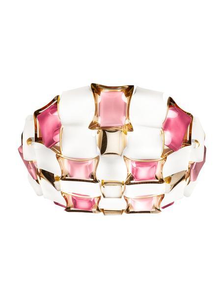 Design Deckenleuchte Mida aus Kunststoff, Lampenschirm: Lentiflex, Opalflex, Copp, Rosa, Weiß, Goldfarben, 50 x 16 cm