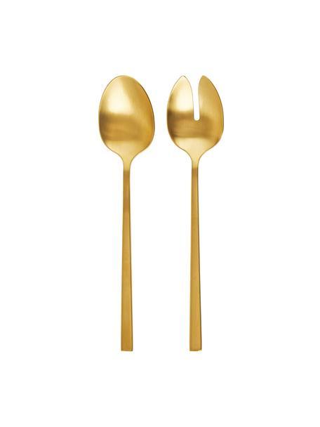Komplet sztućców sałatkowych ze stali szlachetnej Shine, 2 elem., Stal szlachetna  18/8, Złoty, D 24 cm