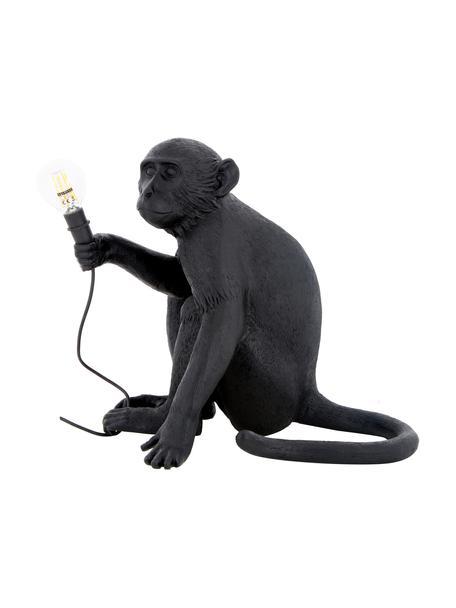 Lámpara de mesa para exterior de diseño Monkey, con enchufe, Lámpara: resina, Cable: plástico, Negro, An 34 x Al 32 cm