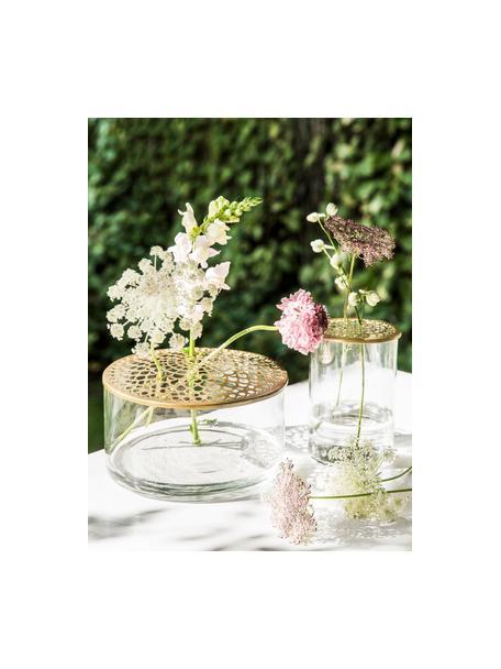 Vaso per fiori in vetro con coperchio in metallo Kassandra, Vaso: vetro, Coperchio: acciaio inossidabile, ott, Vaso: trasparente Coperchio: ottone, Ø 21 x Alt. 10 cm