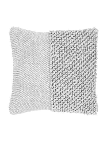 Kissenhülle Andi mit strukturierter Oberfläche, 80% Acryl, 20% Baumwolle, Hellgrau, 40 x 40 cm