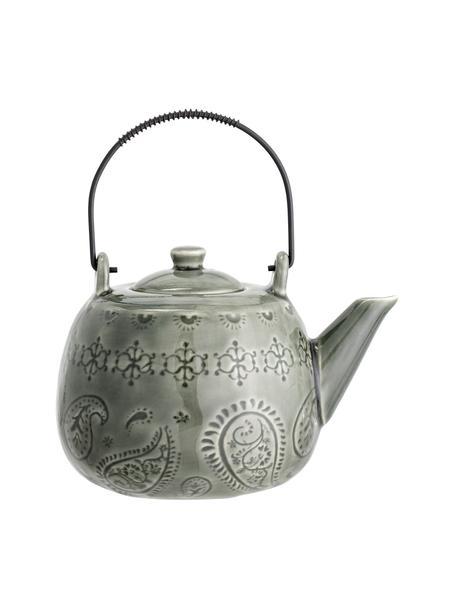 Teiera fatta a mano con smalto craquelé e colino da tè Rani, Teiera: gres, Manico: metallo verniciato, Verde, 1 L