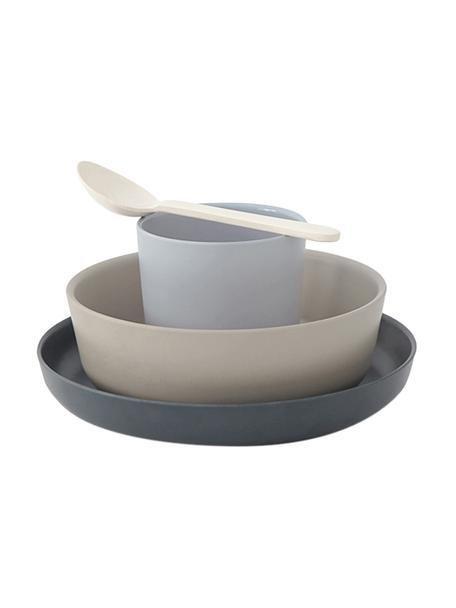 Set colazione in bambù Miku 4 pz, Fibra di bambù, melamina, adatto per alimenti Senza BPA, PVC e ftalati, Grigio, beige, blu, bianco crema, Set in varie misure