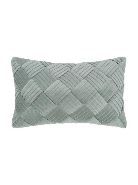 Samt-Kissenhülle Sina in Salbeigrün mit Strukturmuster, Samt (100% Baumwolle), Grün, 30 x 50 cm