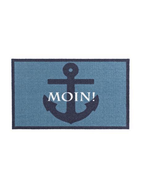 Polyamid-Fußmatte Moin, Oberseite: 100% Polyamid, Unterseite: PVC, Blautöne, Weiß, 50 x 70 cm