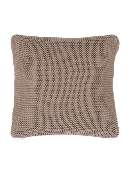 Federa arredo a maglia in cotone biologico marrone chiaro Adalyn, 100% cotone biologico, certificato GOTS, Marrone, Larg. 40 x Lung. 40 cm