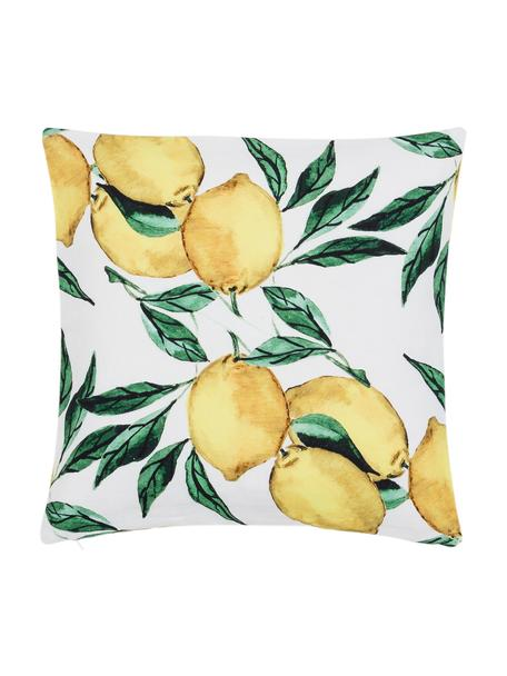 Funda de cojín Citrus, Algodón, Amarillo, verde, blanco, An 40 x L 40 cm