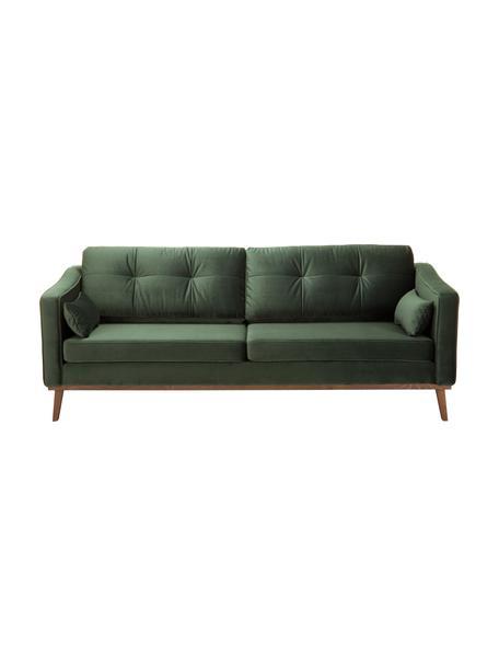 Sofa z aksamitu z nogami z drewna bukowego Alva (3-osobowa), Tapicerka: aksamit (wysokiej jakości, Nogi: lite drewno bukowe, barwi, Aksamitny oliwkowy, S 215 x G 92 cm