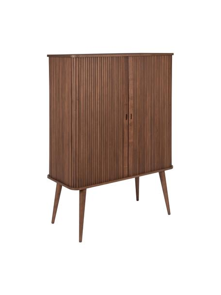 Dressoir Barbier in Retro Design met schuifdeuren, Frame: MDF, walnoothoutfineer, Plank: hard glas, Walnoothoutkleurig, 100 x 140 cm