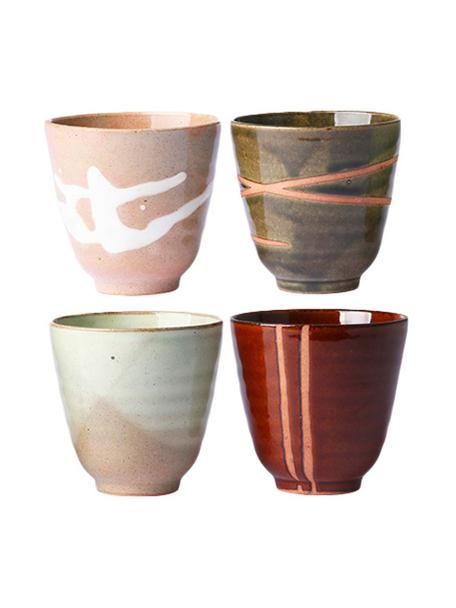 Set 4 tazze senza manico stile giapponese Yunomi, Ceramica, Multicolore, Ø 9 x Alt. 8 cm