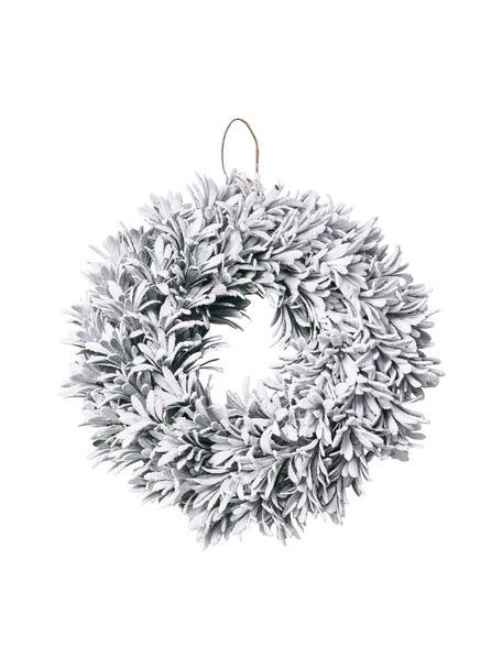 Handgefertigter Weihnachtskranz Vintia Ø 42 cm, beschneit, Kunststoff, Weiss, Ø 42 cm