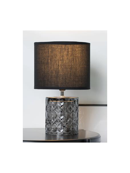 Kleine tafellamp Crystal Glow met glazen voet, Lampenkap: katoenmix, Lampvoet: glas, Wit, zwart, Ø 15 x H 29 cm