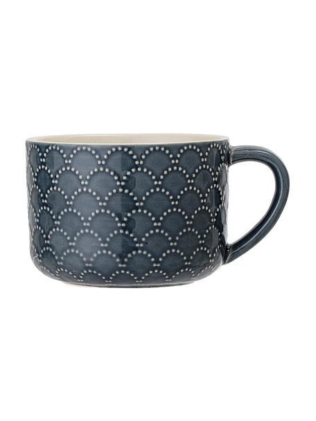 Tazas de café Naomie, 4uds., Gres, Azul, blanco, Ø 10 x Al 7 cm