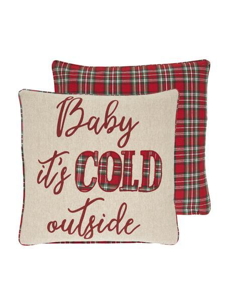 Dwustronna poszewka na poduszkę Chilly, 100% bawełna, Beżowy, czerwony, zielony Wykończenie brzegów: czerwony, zielony, S 45 x D 45 cm