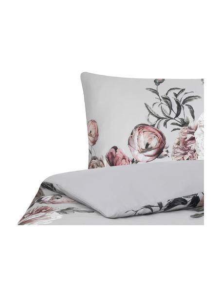 Katoensatijnen dekbedovertrek Blossom, Weeftechniek: satijn Draaddichtheid 210, Grijs, 140 x 200 cm + 1 kussen 60 x 70 cm