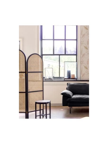 Kamerscherm Webbing met Weens vlechtwerk, Frame: sungkai hout, Zwart, 150 x 180 cm