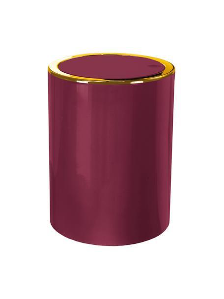 Afvalemmer Golden Clap met klapdeksel, Kunststof, Bordeauxrood, Ø 19 x H 25 cm